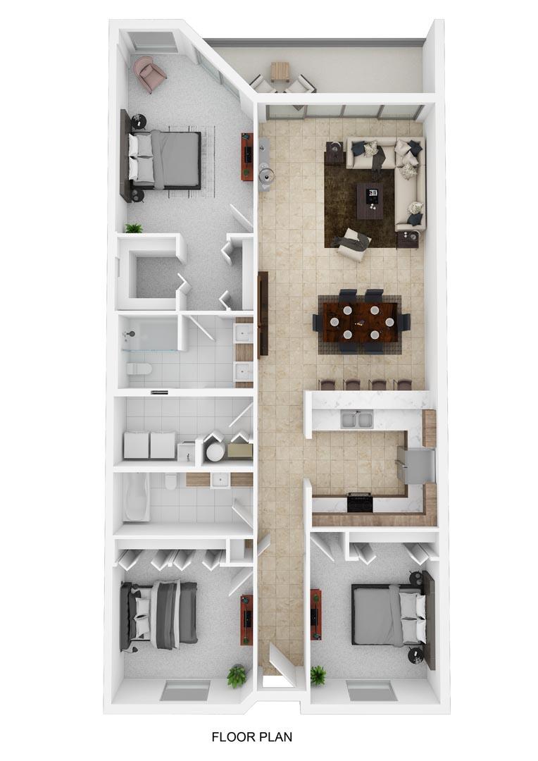 River Palms Riverfront Condos Floor Plan B