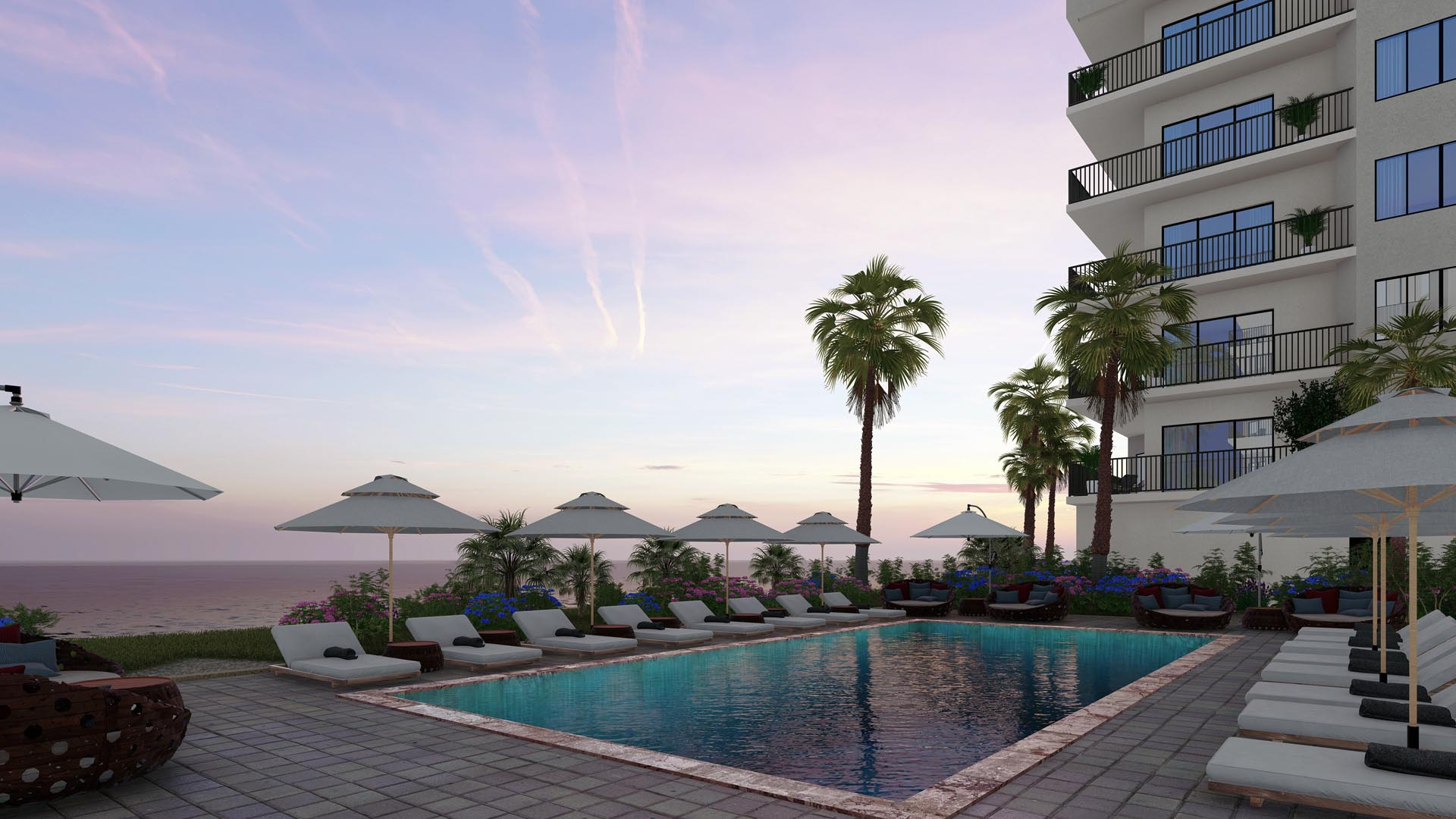 River Palms Riverfront condos in Titusville FL Pool deck rendering
